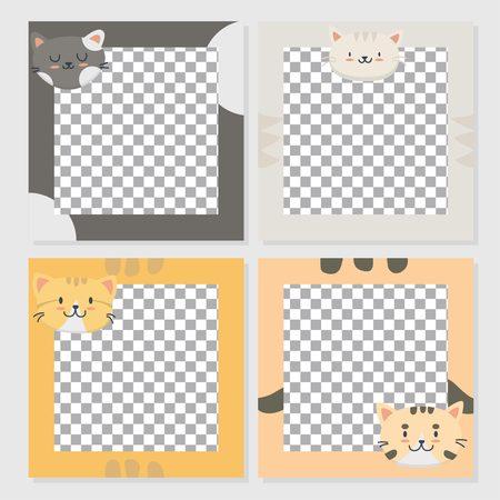 Illustrazione per Cute cat card set template - Immagini Royalty Free