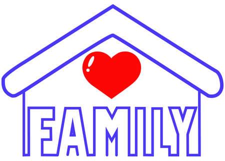 Ilustración de family day, word family inside the figure of a house - Imagen libre de derechos