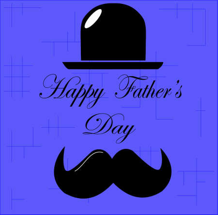 Ilustración de happy father's day, hat and mustache, with the text, happy father's day, in the middle, on a blue background - Imagen libre de derechos