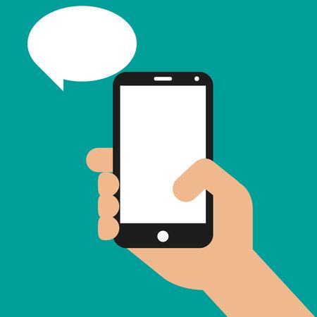 Illustration pour Hand holding black smartphone, touching blank screen. Vector illustration - image libre de droit