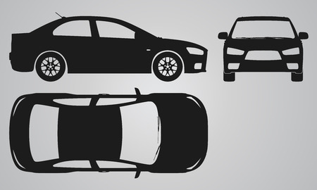 Illustration pour Front, top and side car projection. Flat illustration for designing icons - image libre de droit