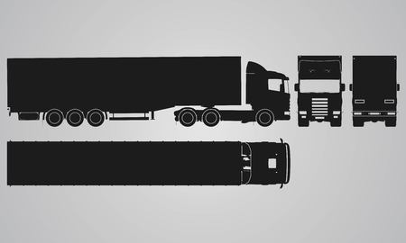 Illustration pour Front, back, top and side truck with load trailer projection. Flat illustration for designing icons - image libre de droit