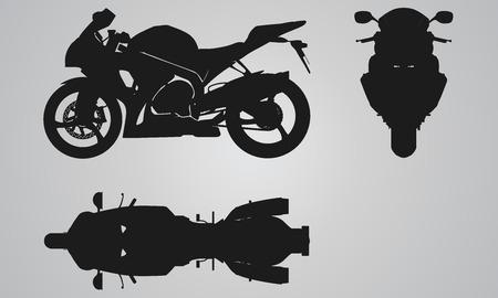 Illustration pour Front, top and side bike projection. Flat illustration set for designing motorbikes icons - image libre de droit