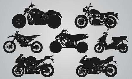 Illustration pour Set of 7 side different bikes projection. Flat illustration set for designing motorbikes icons - image libre de droit