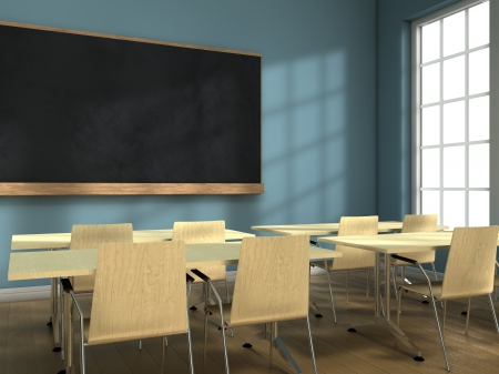 Photo for Blackboard and school desks background - Royalty Free Image