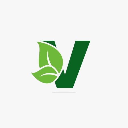 Ilustración de Letter V with green leaf logo concept design illustration. - Imagen libre de derechos