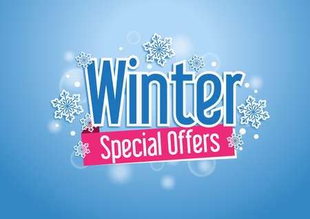 Illustration for Winter Special Offers  Beautiful Background with Snow Flakes - Royalty Free Image