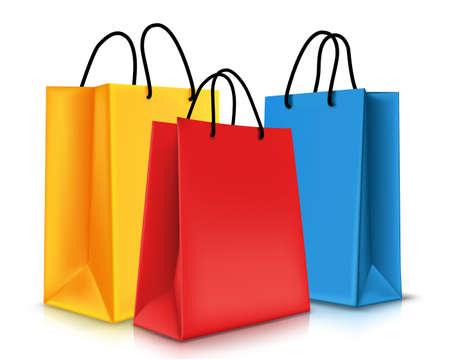 Ilustración de Set of Colorful Empty Shopping Bags Isolated. Vector Illustration - Imagen libre de derechos