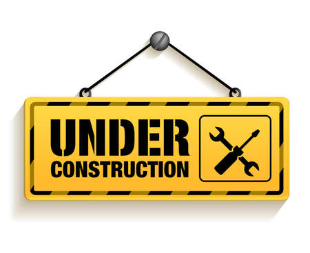 Illustration pour Under Construction Sign in White Background. 3D Mesh Vector illustration - image libre de droit
