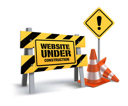 Illustration pour Website Under Construction Sign in White Background. 3D Mesh Vector illustration - image libre de droit