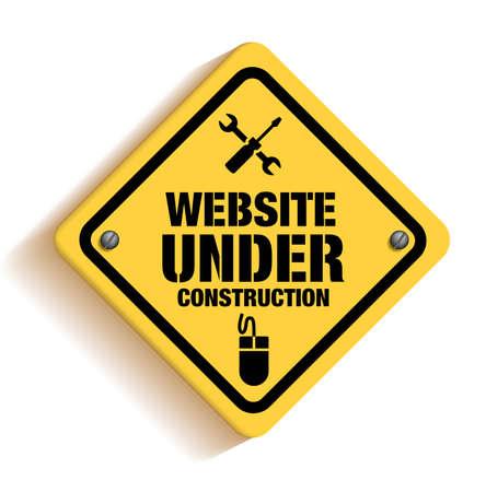 Illustration pour Website Under Construction Sign in White Background. 3D Mesh Vector illustration - image libre de droit