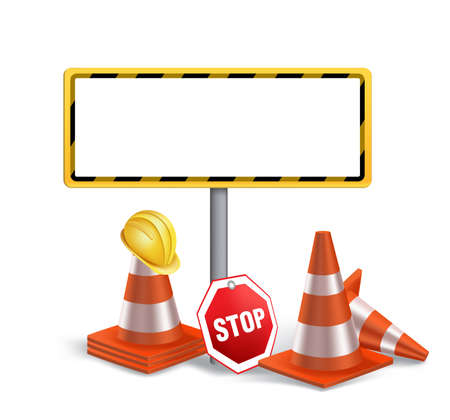 Photo pour Blank Under Construction Sign in White Background. 3D Mesh Vector illustration - image libre de droit