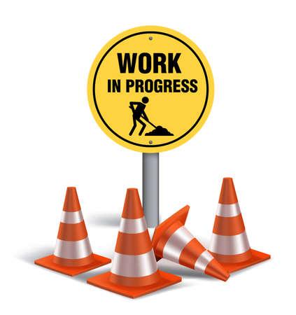 Illustration pour Work in progress Sign in White Background. 3D Mesh Vector illustration - image libre de droit