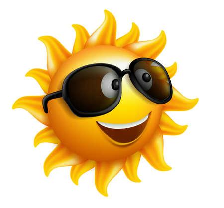 Ilustración de Summer Sun Face with sunglasses and Happy Smile. Vector Illustration - Imagen libre de derechos