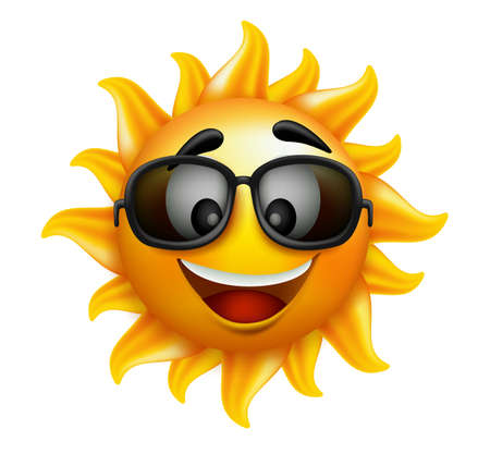 Illustration for Summer Sun Face with sunglasses and Happy Smile. Vector Illustration - Royalty Free Image