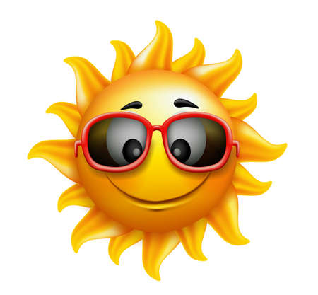 Illustration pour Summer Sun Face with sunglasses and Happy Smile. Vector Illustration - image libre de droit