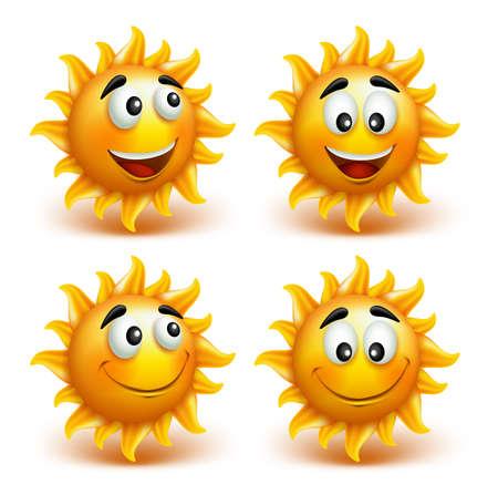 Ilustración de Set of Summer Sun Face with Happy Smile. Vector Illustration - Imagen libre de derechos