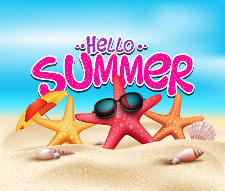 Illustration for Hello Summer in Beach Seashore with Realistic Objects - Royalty Free Image
