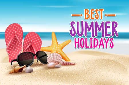 Ilustración de Summer Holidays in Beach Seashore. Vector Illustration - Imagen libre de derechos