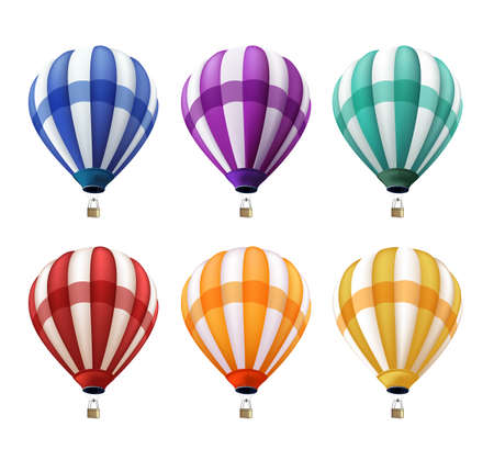 Illustration pour Set of Realistic Colorful Hot Air Balloons Flying as an Elements or Decoration for Summer, Holidays and Greetings. Vector Illustration - image libre de droit