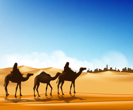 Illustration pour Group of Arab People with Camels Caravan Riding in Realistic Wide Desert Sands in Middle East Going to a City. Editable Vector Illustration - image libre de droit