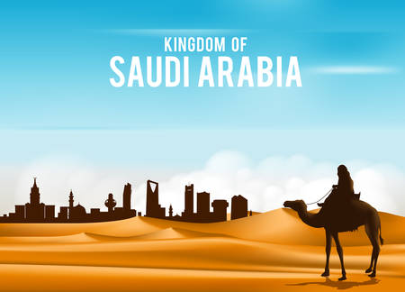 Illustration for Arab Man Riding in Camel in Wide Desert Sands in Middle East Going to City in Kingdom of Saudi Arabia. Editable Vector Illustration - Royalty Free Image