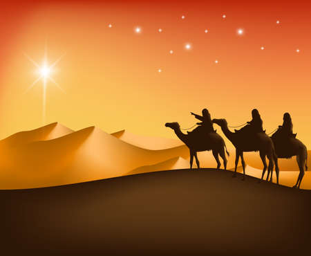 Illustration pour The Three Kings Riding with Camels in the Desert Guided with the Star Going to Bethlehem to See New Born Jesus. Editable Vector Illustration - image libre de droit