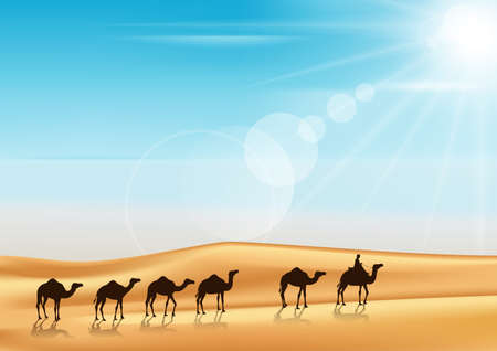 Illustration pour Group of Camels Caravan Riding in Realistic Wide Desert Sands in Middle East with a Beautiful Sunlight in Horizon. Editable Vector Illustration - image libre de droit