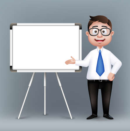 Illustration pour Realistic Smart Professor or Business Man Characters With Eyeglasses Presenting in Empty White Board in Long Sleeve and Necktie Isolated in White Background. Editable Vector Illustration - image libre de droit