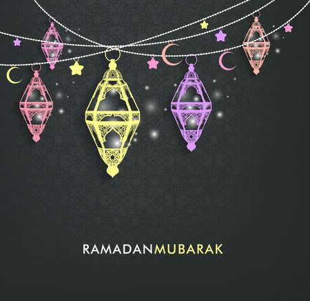 Illustration for Beautiful Elegant Ramadan Mubarak Lanterns or Fanous Hanging With Colorful Lights in Islamic Pattern Background for the Holy Month Occasion of fasting. Editable Vector Illustration - Royalty Free Image