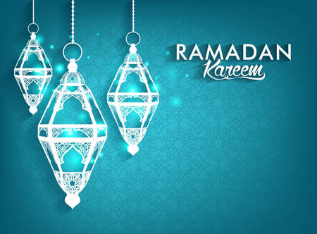 Illustration for Beautiful Elegant Ramadan Kareem Lanterns or Fanous Hanging With Colorful Lights in Islamic Pattern Background for the Holy Month Occasion of fasting. Editable Vector Illustration - Royalty Free Image