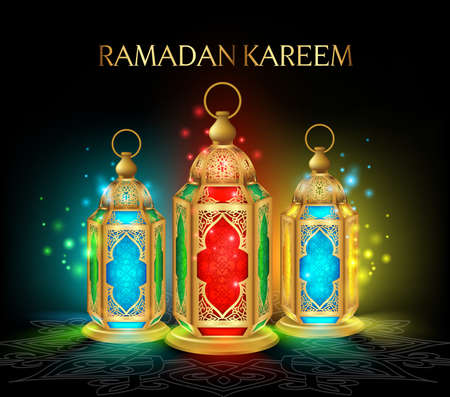 Illustration for Beautiful Elegant Ramadan Kareem Lantern or Fanous in Gold With Colorful Lights in Night Background for the Holy Month Occasion of fasting. Editable Vector Illustration - Royalty Free Image