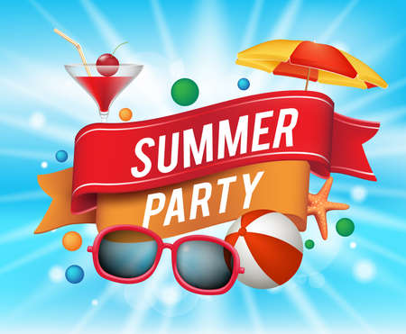 Illustration for Summer Party Poster with Colorful Elements and a Text in a Ribbon with Blue Background. Vector Illustration - Royalty Free Image