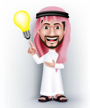 Illustration pour Realistic Smiling Handsome Saudi Arab Man Character in 3D Posing with Thobe Dress Pointing Hand in a Bulb Idea or Creativity. Editable Vector Illustration - image libre de droit