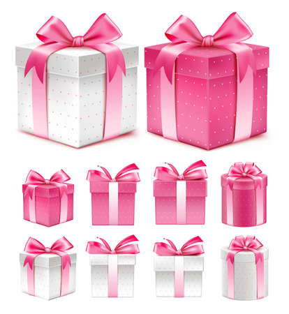 Ilustración de Realistic 3D Collection of Colorful Red Pattern Gift Box with Ribbon - Imagen libre de derechos