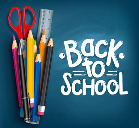 Photo for Back to School Title Words with Realistic School Items With Colored Pencils, Scissor, Pen and Ruler in a Blue Texture Background. Vector Illustration - Royalty Free Image