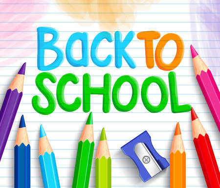 Illustration pour Back to School Title Words Written in a White Line Paper with Sets of Colorful Crayons or Colored Pencils and Sharpener. Vector Illustration - image libre de droit