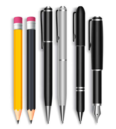 Illustration pour Set of Realistic 3D Pencils and Elegant Black and Silver Ball Pens Isolated in White Background as School Items. Vector Illustration - image libre de droit