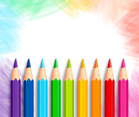 Ilustración de Set of Realistic 3D Colorful Colored Pencils or Crayons in a Brushed White Background with Texture for Back to School with White Space for Message. Vector Illustration - Imagen libre de derechos