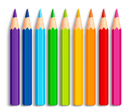 Illustration pour Set of Realistic 3D Multicolor Colored Pencils or Crayons Isolated in White Background for Back to School Items. Vector Illustration - image libre de droit