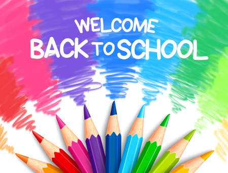 Illustrazione per Realistic Set of Colorful Colored Pencils or Crayons with Brush Strokes Background in Back to School Title. Vector Illustration - Immagini Royalty Free