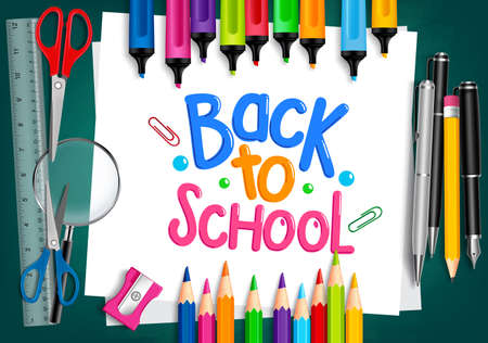 Photo pour Realistic 3D Set of School Items with Back to School Title Written in White Paper with Set of Colorful Crayons and Markers. Vector Illustration - image libre de droit