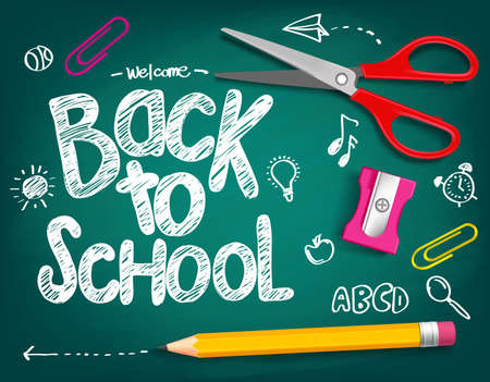 Foto de Welcome Back to School Title Written in a Chalk Board with Realistic 3D Items Like Pencil and Scissor. Vector Illustration Doodle - Imagen libre de derechos