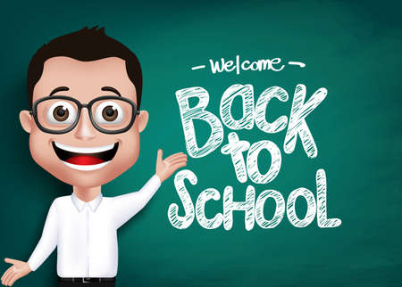 Illustration pour 3D Realistic Genius Student or Professor With Eyeglass Happy Teaching in Front of Blackboard With Back to School Text Written. Vector Illustration - image libre de droit