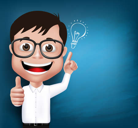 Illustration pour 3D Realistic Nerd School Boy Student or Professor with Eyeglasses Happy Smiling with New Great Ideas in Blue Background Space for Texts. Vector Illustration - image libre de droit