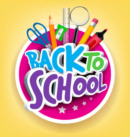 Foto de Colorful Realistic 3D Back to School Title Texts with School Items in a Circle for Poster Design in Yellow Background.  - Imagen libre de derechos