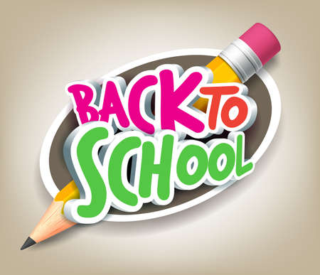 Illustration pour Colorful Realistic 3D Back to School Title Texts with Big Pencil in a Circle for Poster Design in Colorful Background. - image libre de droit