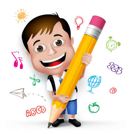 Illustration pour 3D Realistic Smart Kid School Boy Wearing Uniform and Backpack Writing Creative Ideas with Big Pencil Isolated in White Background.  - image libre de droit