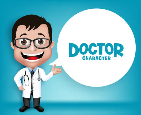 Illustration pour Realistic 3D Young Friendly Professional Doctor Medical Character Speaking Prescription in Patient. White Space for Message. - image libre de droit