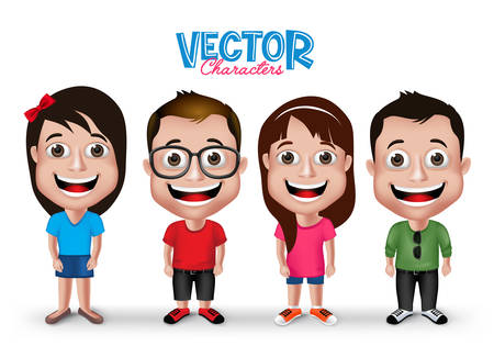Illustration for Set of Realistic 3D Boys and Girls Young Adult Kids Characters Happy Smiling in Casual Dress Fashion Isolated in White Background.  - Royalty Free Image